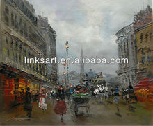 Palette Knife Abstract Paris Street Oil Painting