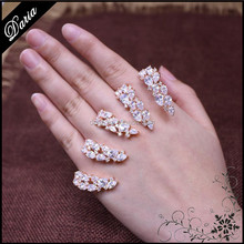 DLY Expandale Four fingers chain ring Wheat leaves cuff ring, multiple finger Knuckle ring Gift