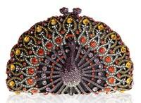 High-end fashion! luxury diamond clutch bag, peacock purse
