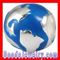 925 Sterling Silver Arround the World Global Bead and Charm with Enamel