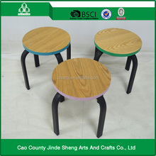 metal three legs frame with printing wood top kids stool