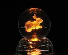 wholesale lovely rabbit 3d laser crystal ball glass ball for souvenir
