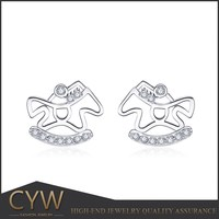CYW 925 silver platinum plating animal horse shape earrings jewellry, costume jewelry wholesale