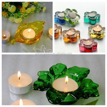 Tempered leaf shape glass tea light holders with color