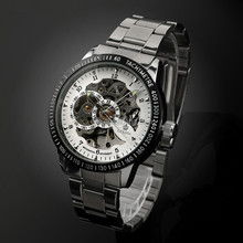 Full Steel Big Dial Skeleton Mechanical Watch Luxury Watch WM384