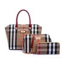 European wholesale 3pcs ladies bag handbag and purse fashion handbag set bag canvas handbag women bag