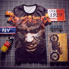 Men's T-Shirts summer new Korean version of classic skull printed T-shirt bottoming shirt flame