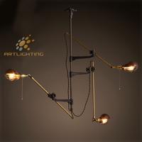 American Antique raw brass tool three arms pendant light with Edison bulb