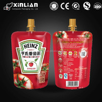 high quality round bottom stand up pouch with top spout/spout pouch for ketchup