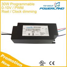 UL Listed 30W 700mA Programmable 0-10V / PWM / Rset / Clock Dimmable Led Driver