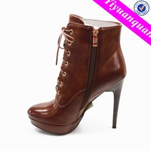 Women High Heel Lace up Platform Ankle Boots Shoes