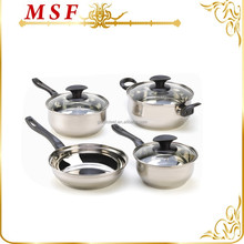 Russia famous brand 7pcs stainless steel induction cookware with heat resistant bakelite handle for queen home kitchen
