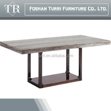 2015 new Italy design travertine marble top wood dining table