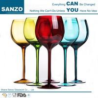 handmade custom high quality elegant french blue stem red wine glass