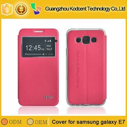 Fancy PU leather flip case for samsung galaxy e7