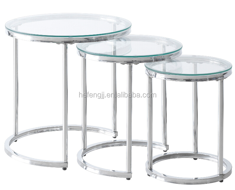 Tempered glass nesting coffee table three tables buy for Glass nesting coffee tables