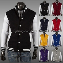OEM Custom Wholesale Baseball Letterman Jacket White Snap Varsity Top College Coat