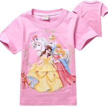 2015 New Summer Tees Cartoon Clothing Baby Girls Princess T-shirt Kids Cotton t-shirts Children's Printed t shirts