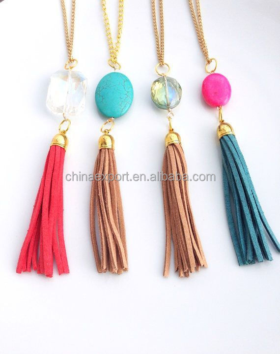 2015 fashion mala beads knotted druzy necklace with tassel