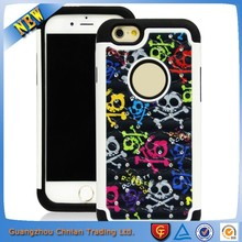 Factory direct sale luxury diamond bling triple case with colorful pattern printed for iphone 6 plus