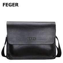 Feger Best Selling Black Shoulder Bag PU Messenger Bag Men