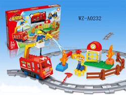 B/O DIY fire fighting truck series toy blocks for kids