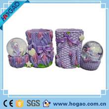 resin decoration snow globe basket of flower