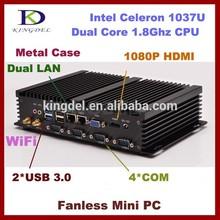 Aluminio sin ventilador de la computadora en casa Celeron 1037U Dual core CPU RAM + SSD + hdd, htpc, Dual lan, 4 * com,VGA