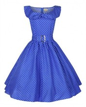 Polka Dots Short Sleeve Round Collar Knee-Length Dress wear to work blue