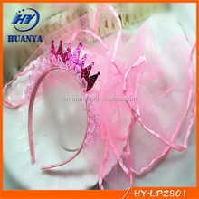 Girls Tiaras Veil Hair Band Headband Baby Kids/Princess Hair Accessory Pink