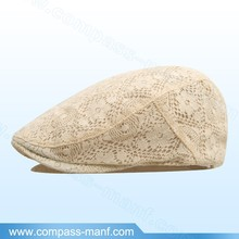 2015 New Trendy Lace Crochet Cream Color Flat Hat
