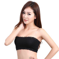 3705 Breathable comfortable bamboo fiber upper and lower lace bra lady boob tube top