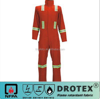 320gsm 100% cotton fire retardant with anti-static coverall 3M reflective tape red color NFPA2112 NFPA 70 E