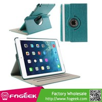Fast Shipping 360 Degree Rotating Crazy Horse PU Leather Smart Cover for iPad Air w/ Stand & Elastic Band