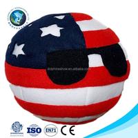 OEM design custom USA plush ball funny children toy stuffed soft plush national flag ball