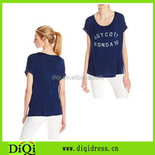 OEM china manufacturer facy clothing womens, ladies navy roll-sleeve t shirt tops