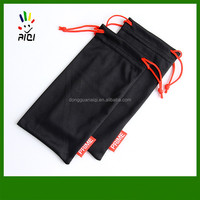 microfibre pouch with customerized logo in double drawstring