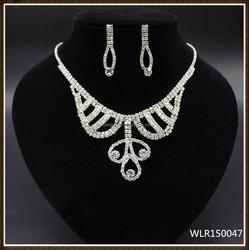 Crystal rhinestone necklace earring set For Wedding dress