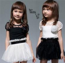 2014 hot sell cheap summer girl short sleeve dress girl flower chiffon dresses