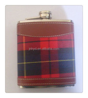 Fine stainless steel Hip Flask With Leather Wrap