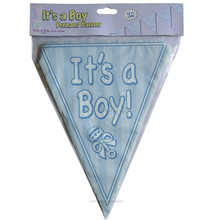 IT'S A Boy Blue Pennant paper Banner For baby shower decoration
