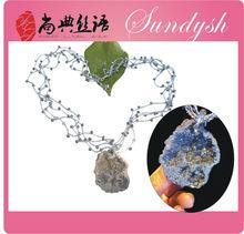 Hecho a mano de ganchillo real Gran Semi Precious al por mayor de la joyería de piedra natural