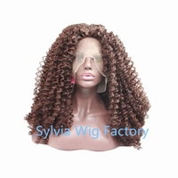 Fashion Deep Wave/Loose Curl Natural Brown Synthetic Lace Front Wig Glueless1B Heat Resistant Hair Wigs For Women Middle Part