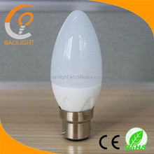 2015 top sell ceramic 5W led dimmable candle bulb b22