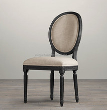 2015French louis style solid wood round back dining chair,louis chair with black legs, French dining chairs display/YJ-141