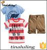2015 latest boys clothing sets children cotton 3 pcs kids clothes wholesale for summer