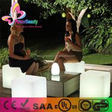 plastic housing rgb led glowing waterproof outdoor cube furniture seat
