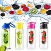 The Best Quality Lowest Price 800mL Sport Health Tritan Plastic Fruit Juice Infuser Water Bottle Flip Lid Bike Travel 4 Colors
