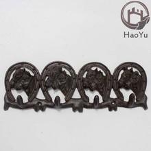 cast iron eight horse head shaped hooks for garden decoration