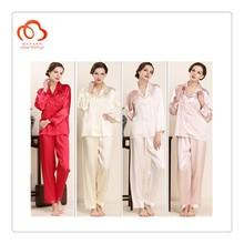 100% material de seda pijamas camisa y pantalones